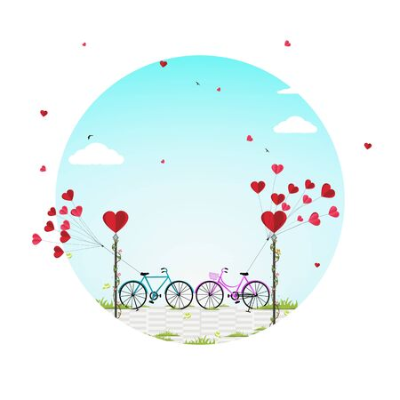 Valentines day background with a bike and a tree made out of hearts.