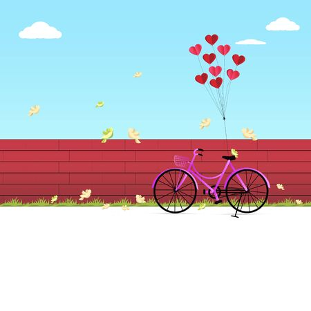 Illustration of happy valentine day, balloon heart shape hang the pink bicycle parking