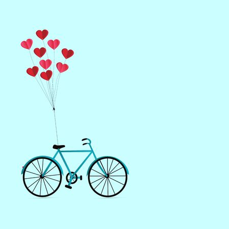 Illustration of happy lovers day or valentine day, balloon heart shape hang the bicycle. Illustration