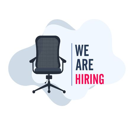 We're hiring with office chair and a sign vacant. Business recruiting design concept.