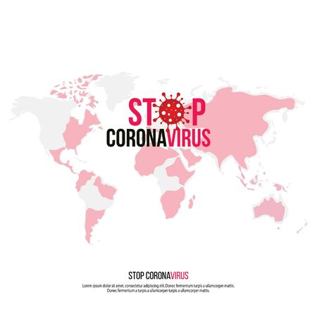Coronavirus Icon with Red Prohibit Sign, 2019-nCoV Novel Coronavirus Bacteria.