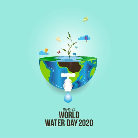 world water day - faucet or water tap with a drop of waters out to earth