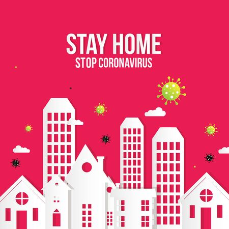 Coronavirus Covid-19, quarantine motivational poster. People stay at home to reduce risk