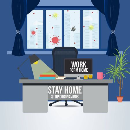 Self-quarantine concept. Work at home during an outbreak of the COVID-19 virus.