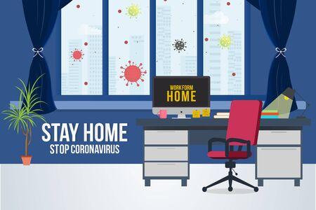 Work from home concept poster design. Self quarantine.Stop corona virus from spreading. Vettoriali