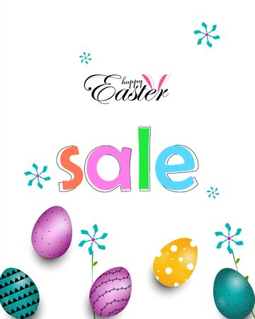 Easter Day Sale banner background template with Colorful Painted Easter Eggs 向量圖像