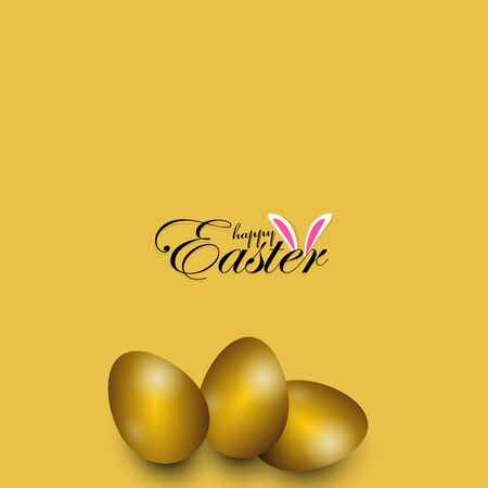 Easter poster and banner template with golden Easter eggs on yellow background. 向量圖像