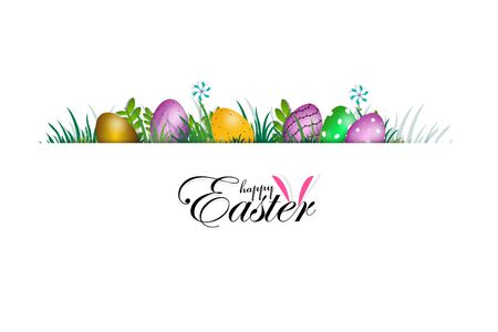 Easter Day Poster or banner template with Colorful Painted Easter Eggs.Easter eggs