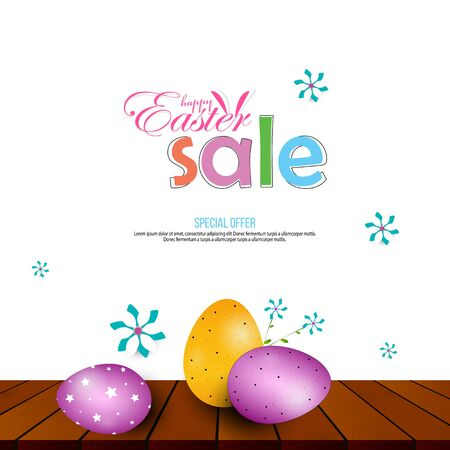 Happy Easter Poster and template with Easter eggs in the nest and flower on wood table background. 向量圖像