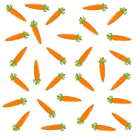 vector pattern with orange carrots on white background, wallpaper with carrot