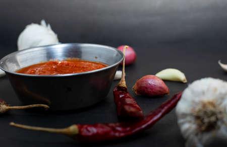 Garlic chutney, made using lahsun/lehsun originating from the India,