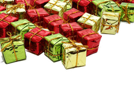 Colorful gift boxes on white backgrounds Imagens