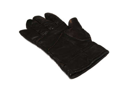 Men's black leather gloves isolated on white backgrounds