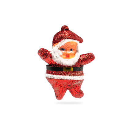 Santa Claus toy on white background. Christmas decorations Imagens