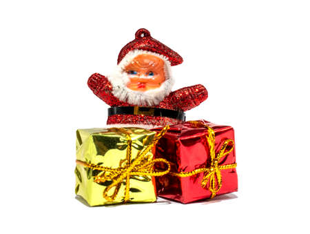 Christmas Santa Claus with gifts boxes isolated on white backgrounds