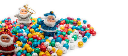 Santa Claus and Colorful balls on white backgrounds