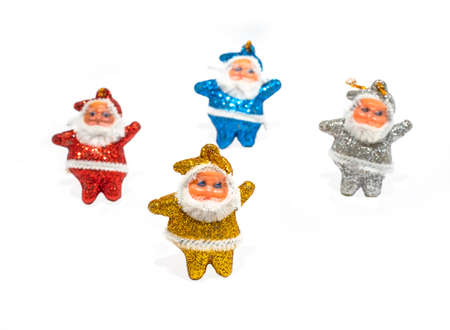 Multi-colored Santa Claus on a white background.