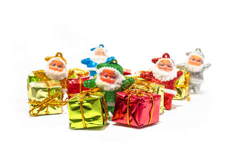 Santa Claus with gift box isolated on a white backgrounds