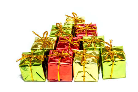 Christmas gift boxes laid out in the shape of a Christmas tree, Merry Christmas