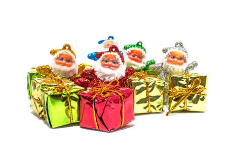 Santa Claus with gifts on white backgrounds