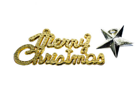 Merry Christmas gold text with star isolated on white backgrounds Imagens