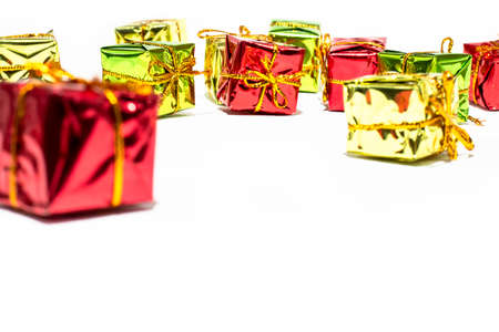 Christmas gift boxes on white backgrounds