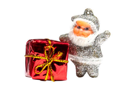 Merry Christmas Santa Claus with gifts boxes isolated on white backgrounds