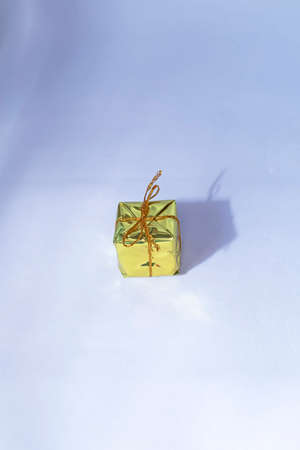 Yellow Christmas gift boxes isolated on white backgrounds