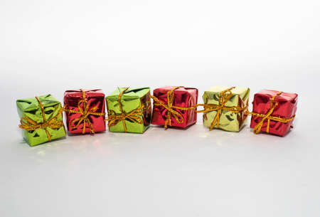 Beautiful colored gift boxes with white backgrounds.