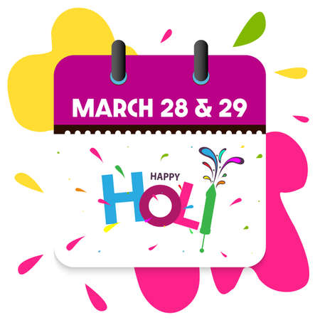 Vector illustration of Happy Holi Indian Hindu Festival of Colors celebration (28 March) calendar