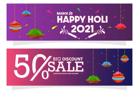 Vector illustration of Happy Holi Indian Hindu Festival of Color Sales Banner or Greeting Card Design with 50% Offer Background.