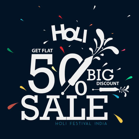 50% discount on Holi Background Festival Sale, Big Sale Header, or Banner Designs. Illustration