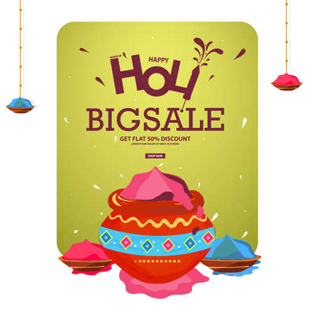 50% discount on Holi Background Festival Sale, Big Sale Header, or Banner Designs