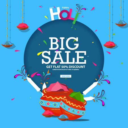 Off Holi Background Festival Sale with Creative Colorful Text Big Sale 50% off discount on the header or banner design.