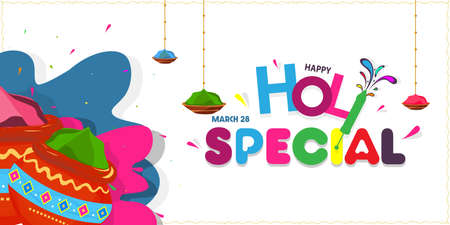 Vector illustration of Happy Holi, Stylish text Holi Special with holi elements, poster, banner, template. Illustration