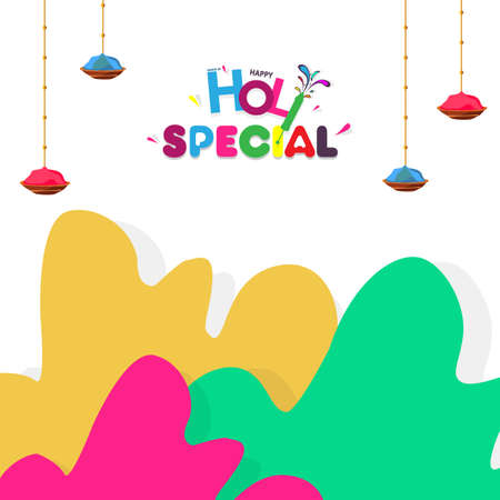Happy Holi Indian Hindu Festival of Colors Greeting Background with Colorful Green, Pink, and Yellow Paint Splash on White Background