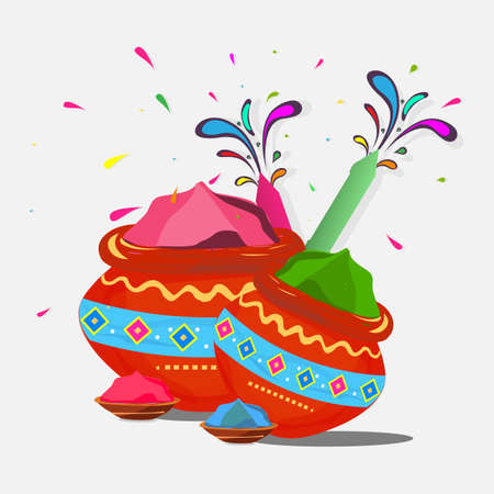 Vector illustration of colorful traditional Holi powder in the pot and bowl is isolated in white background. holi elements, Happy Holi, poster, banner, template.