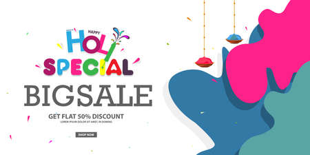 50% discount on Holi Background Festival Sale, Big Sale Header, or Banner Design with Creative Colorful Text.
