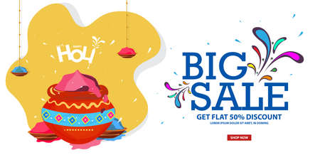Off Holi Background Festival Sale with Creative Colorful Text Big Sale 50% off discounts
