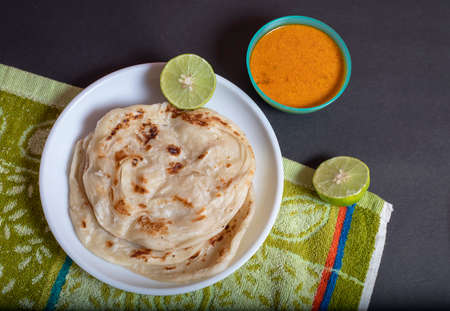 Kerala Parotta layered flat bread using wheat popular in south India. Standard-Bild