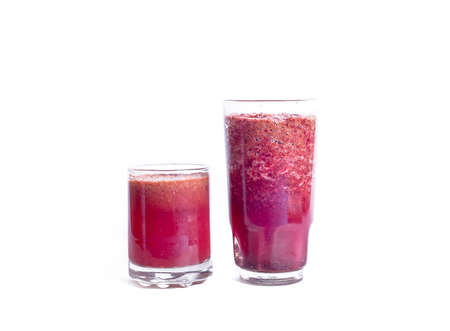 two glass of grape juice on a white backgrounds