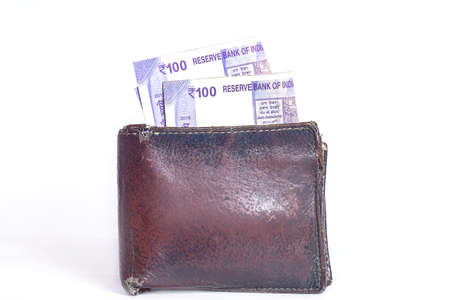 Wallet with One Hundred Rupees Indian Currencies Note
