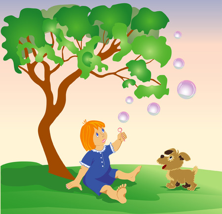 The girl sits under a green tree and plays with the puppy and soap bubbles Vector