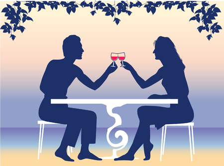 The man and the woman having supper on a resort  Vector