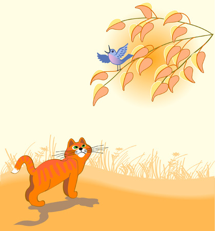 The red cat looks at a dark blue bird on a tree Vector
