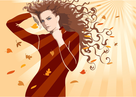 The fine girl with the hair dismissed by an autumn wind Stock Vector - 2034171
