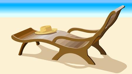 真昼の海の海岸に寝椅子ラウンジと麦わら帽子