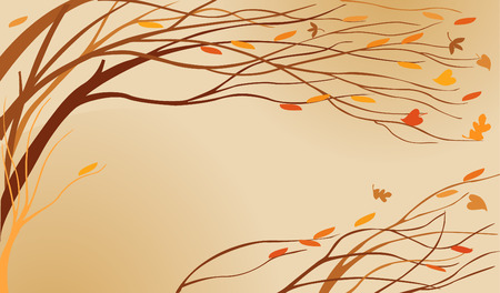 Autumn trees were bent from a wind and leaves shower Vector
