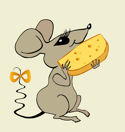 The sitting mouse eats the big piece of cheese Vector