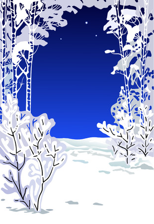 Trees covered with a snow in a winter season at night Vector